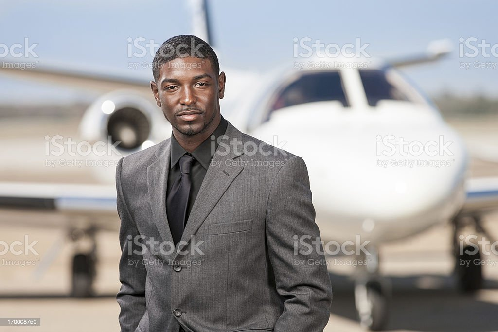 African American Businessman at Airport royalty-free stock photo