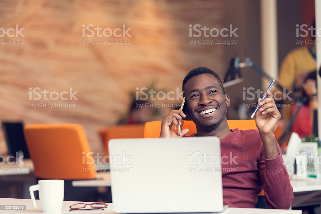 African American businessman on the phone stock photo
