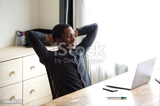 istock african american businessman relaxing with hands behind head at the office 1036091728