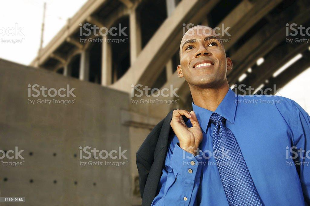 African American Businessman under Bridge royalty-free stock photo