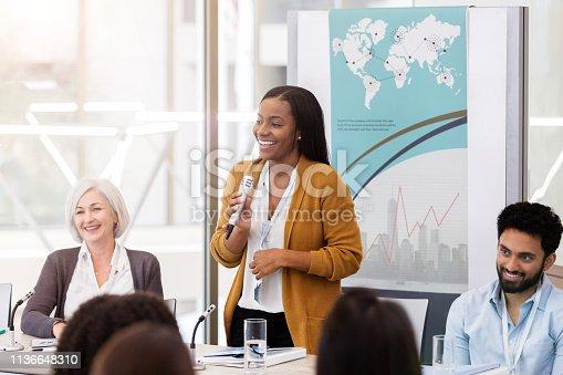 istock African American businesswoman facilitates panel discussion 1136648310