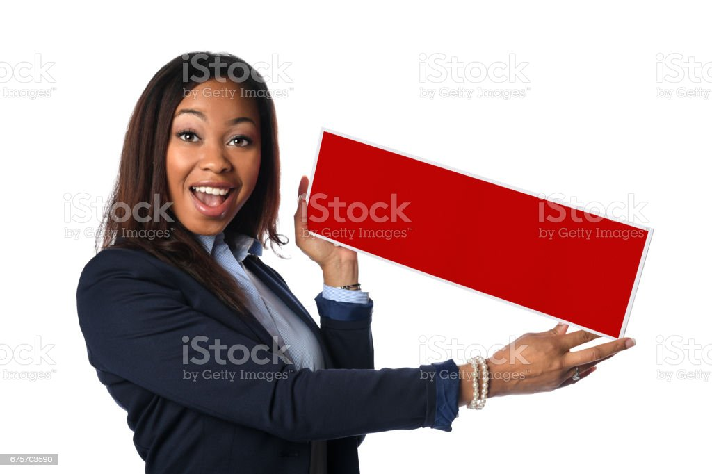 持有空白標誌的非洲裔美國女商人 免版稅 stock photo