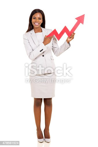 istock african american businesswoman holding stock arrow 478561524