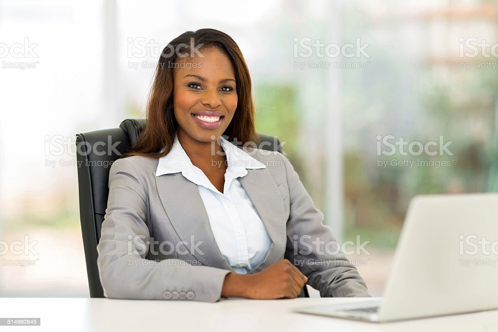african american businesswoman in office stock photo