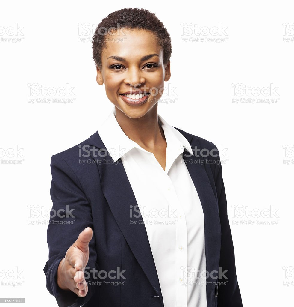African American Businesswoman Offering Handshake - Isolated royalty-free stock photo
