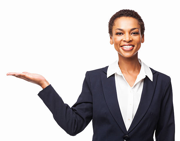 African American Businesswoman Presenting Invisible Product - Isolated stock photo