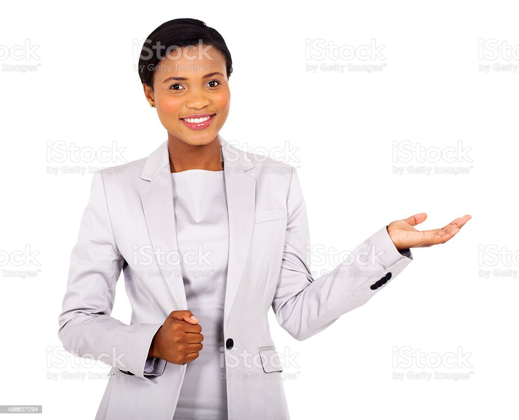 african american businesswoman presenting stock photo