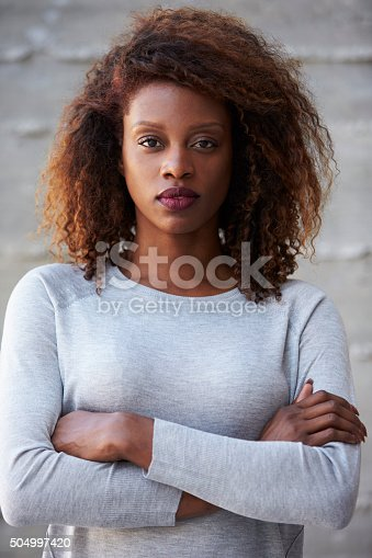 istock African American Businesswoman Standing Against Office Wall 504997420