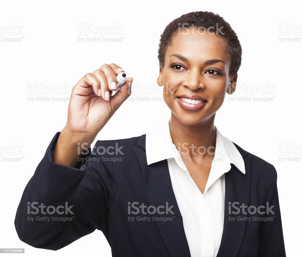 African American Businesswoman Using a Marker - Isolated stock photo