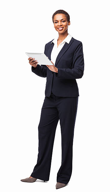 African American Businesswoman Using Digital Tablet - Isolated stock photo
