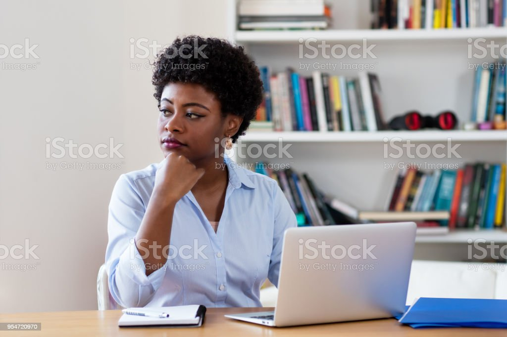African american businesswoman with depression stock photo