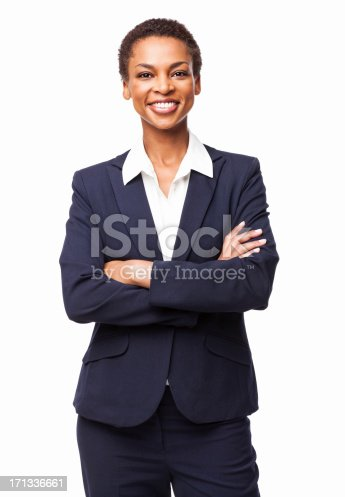 Portrait of a cheerful African American businesswoman with hands folded. Vertical shot. Isolated on white.