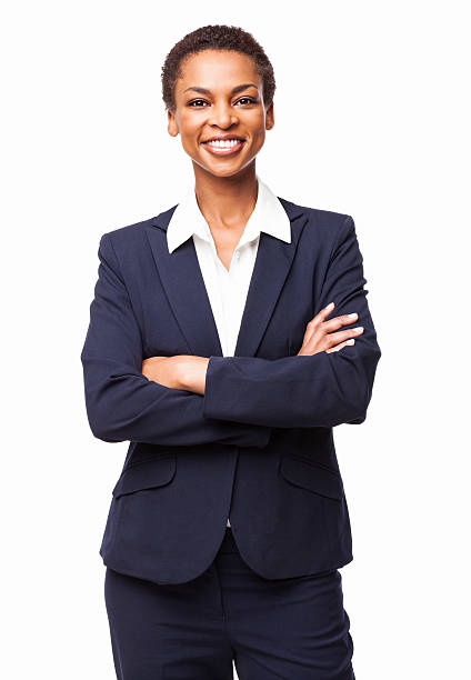 African American Businesswoman With Hands Folded - Isolated stock photo