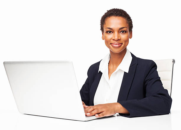 African American Businesswoman Working On Laptop - Isolated stock photo