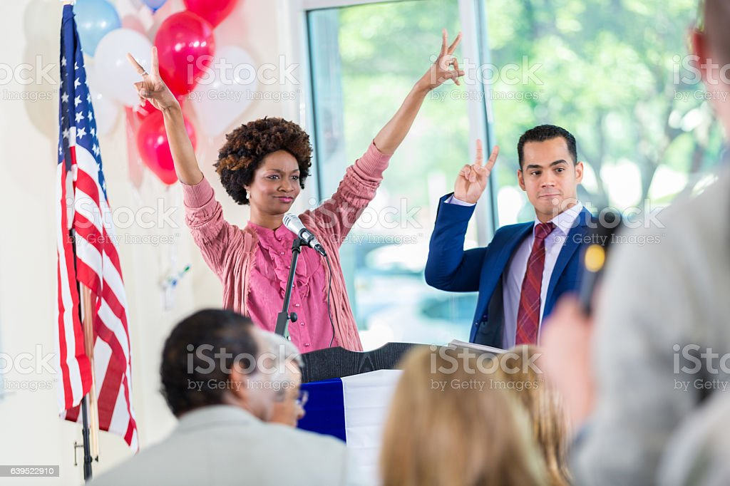 African American candidate celebrates victory stock photo