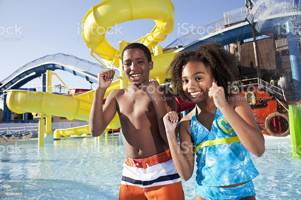 African American children at water park stock photo