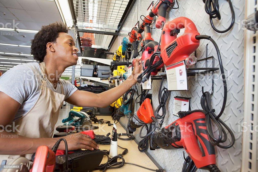 African American clerk working stock photo