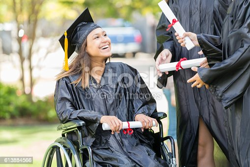 istock African American college graduate in wheelchair 613884566