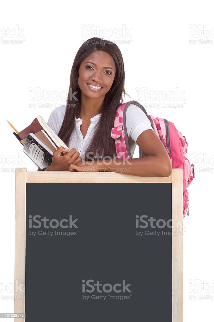 African American College student by blackboard royalty-free stock photo