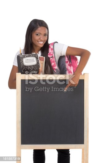 istock African American College student by blackboard 151557319