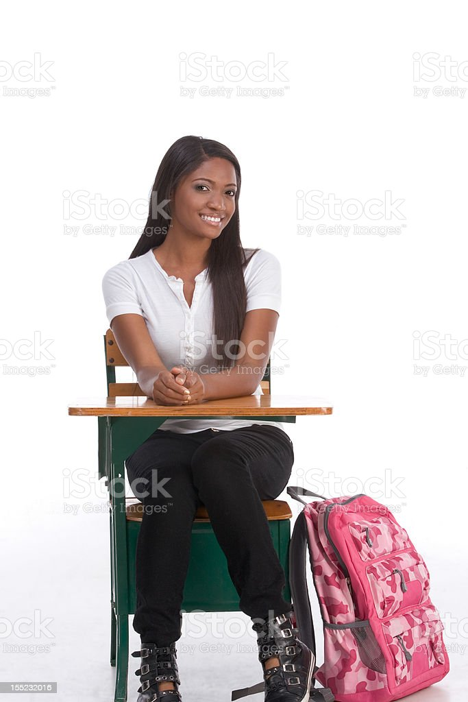 African American College student by school desk royalty-free stock photo