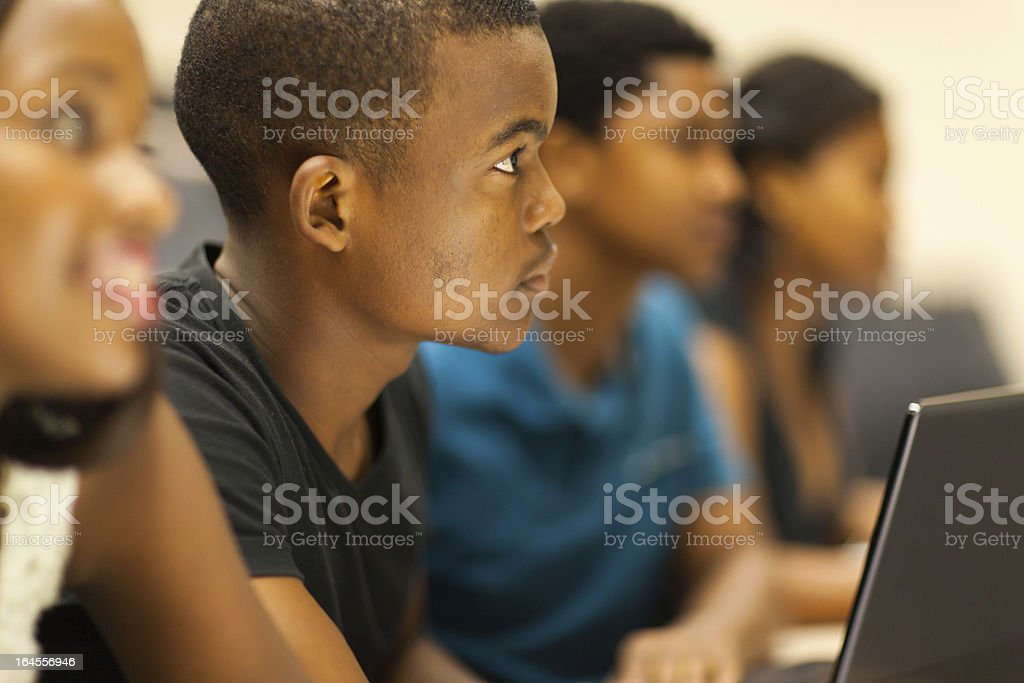 african american college students in lecture room stock photo