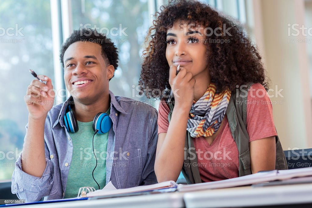 African American College Students Listen To Lecture Royalty Free Stock Photo
