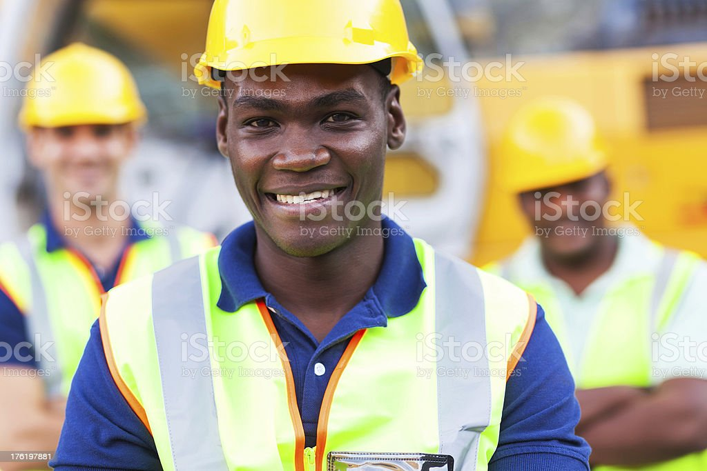 african american construction worker stock photo