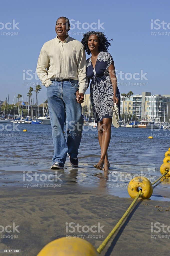 African American Couple at Marina royalty-free stock photo