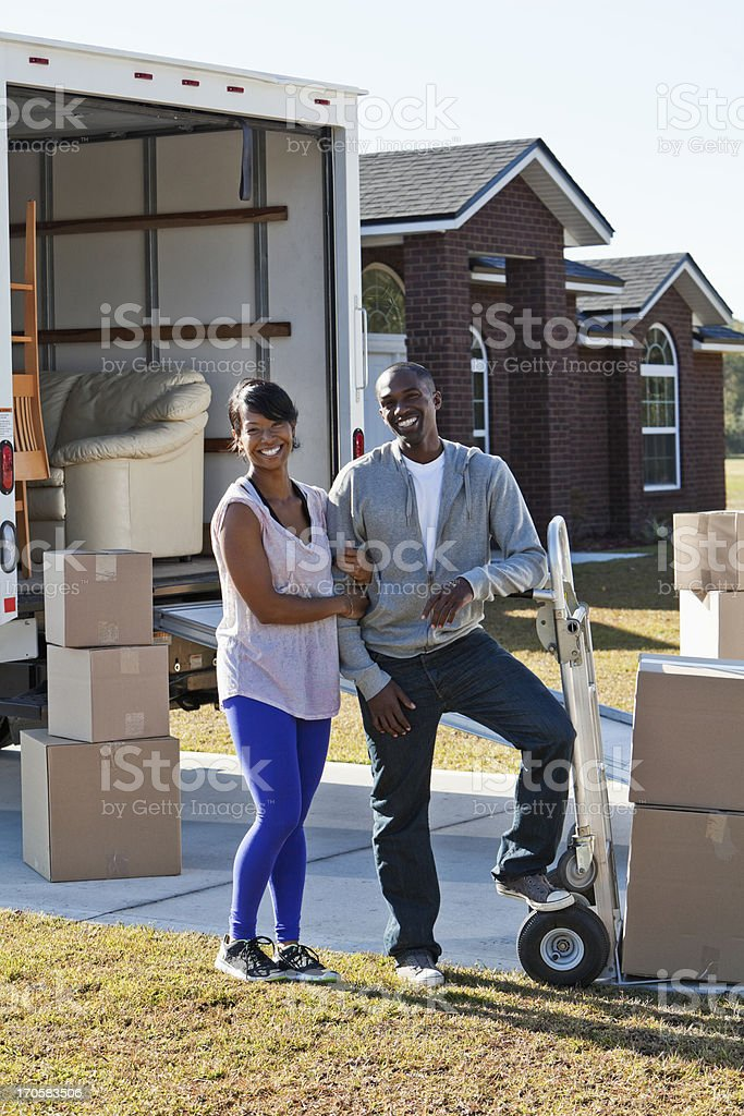 African American couple moving house royalty-free stock photo