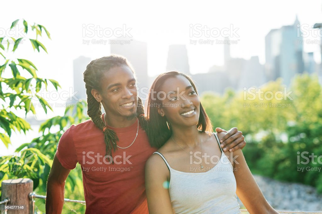 African American couple on honeymoon in NYC - Royalty-free 20-29 Years Stock Photo