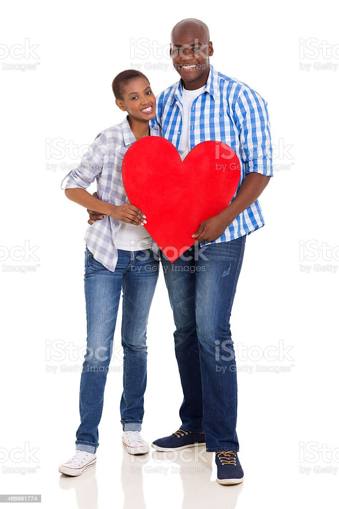african american couple with heart shape stock photo