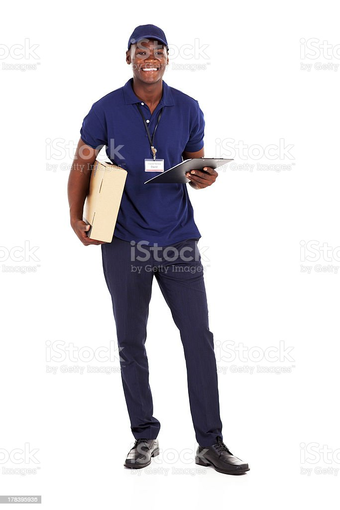 african american delivery guy with parcel stock photo