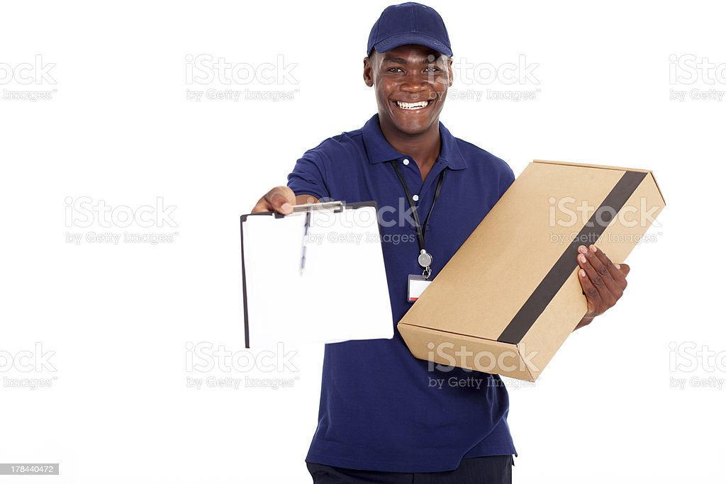 african american delivery man carrying parcel stock photo