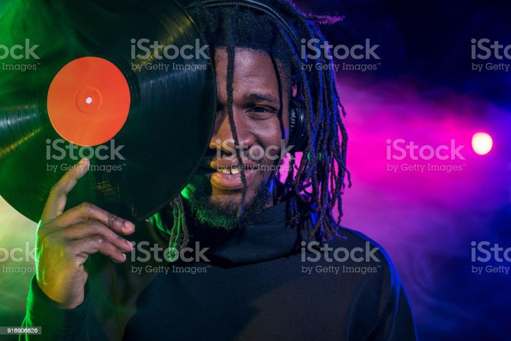 african american DJ with vinyl stock photo
