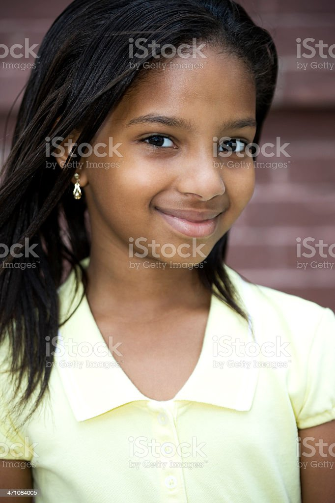 African American Elementary Age Little Girl Portrait Outside royalty-free stock photo