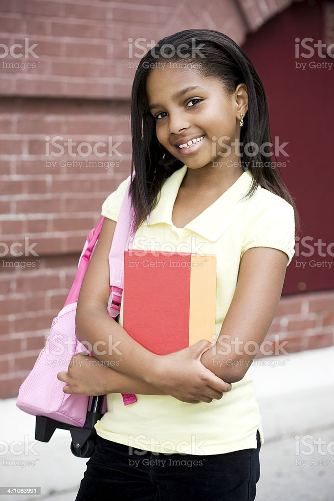 African American Elementary Girl School Portrait with Backpack, Outside royalty-free stock photo