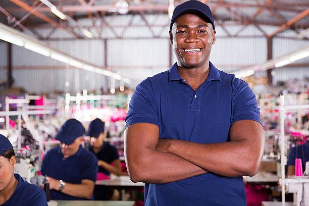 african american factory supervisor stock photo