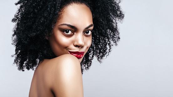 African American Fahion Model Portrait Brunette Curly Haired Young Woman Beauty Salon And Haircare Concept Web Banner With Copy Space Stock Photo Download Image Now Istock