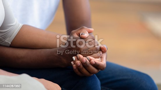 African american family couple holding hands, black man friend husband support comfort woman wife, hope empathy concept, trust care in marriage relationship, honesty and understanding, close up view