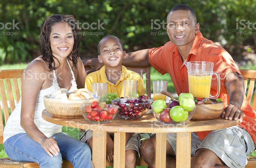 African American Family Healthy Eating Outside royalty-free stock photo