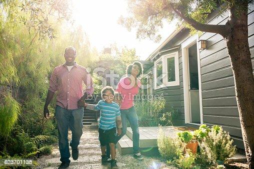 istock African American family holding hands in garden 623701138