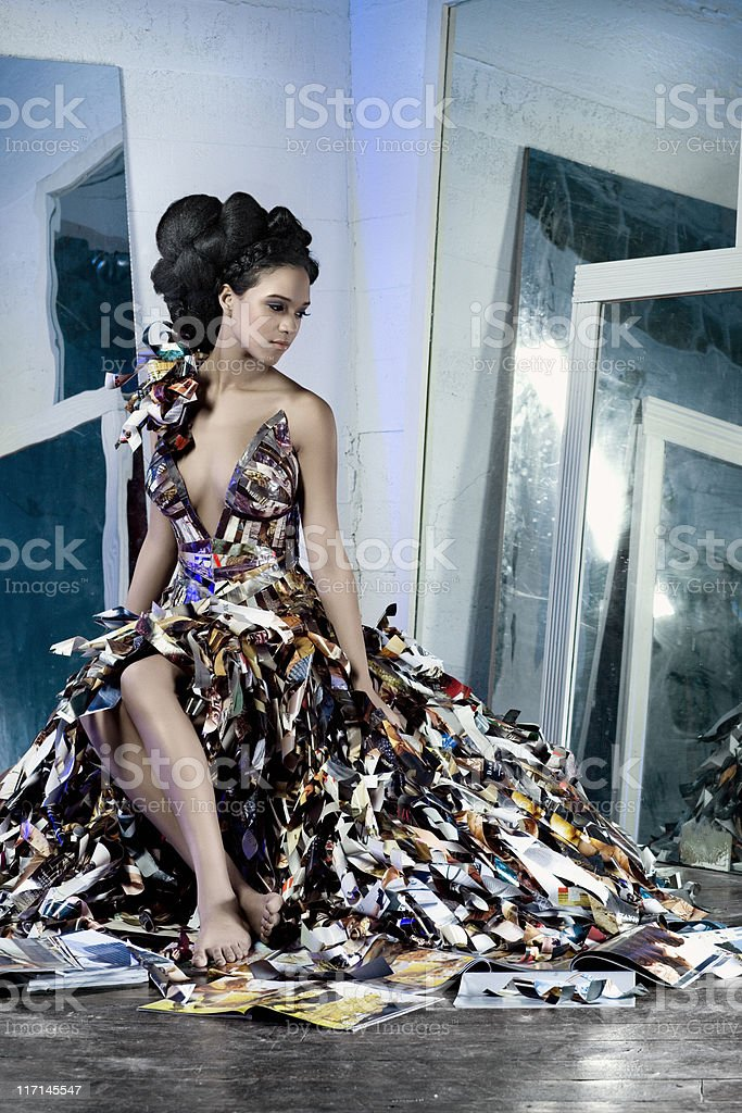 African American Fashion Model in Paper Couture Dress with Mirrors stock photo