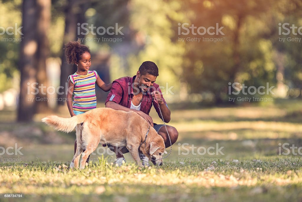 African American father and daughter enjoying with their dog outdoors. stock photo