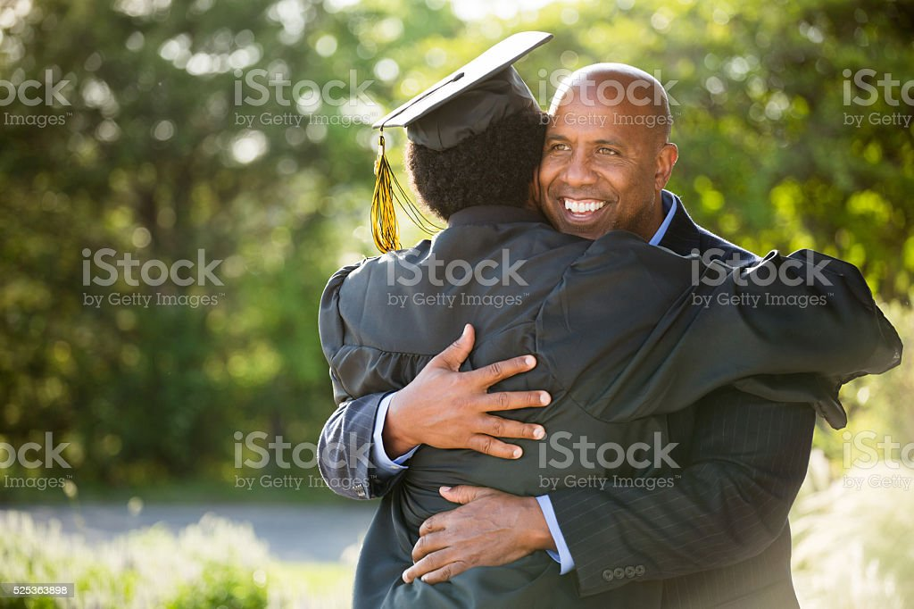 African American Father and son on Graduation Day royalty-free stock photo