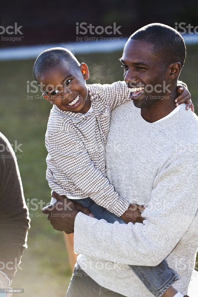 African American father and son royalty-free stock photo