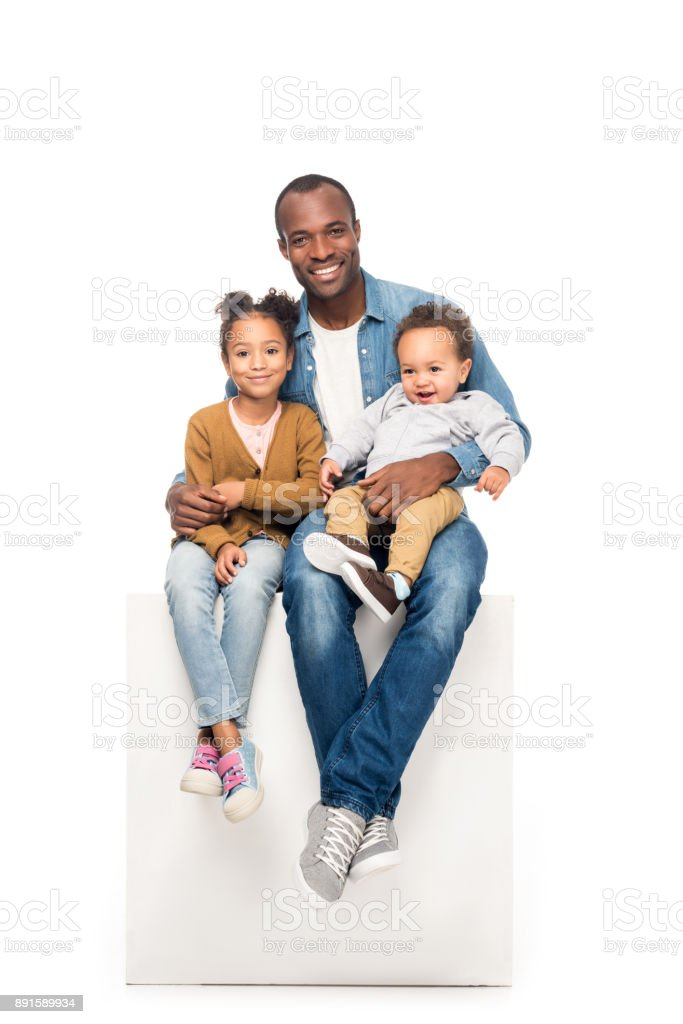 african american father with kids stock photo
