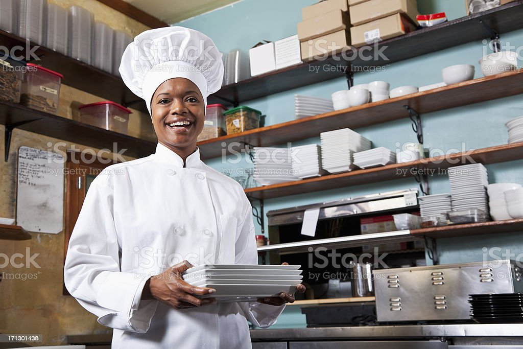 African American female chef stock photo
