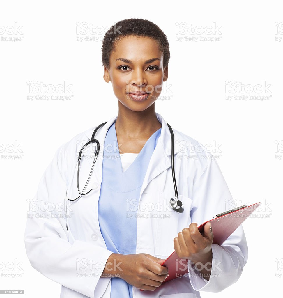 African American Female Doctor Holding a Clipboard - Isolated stock photo