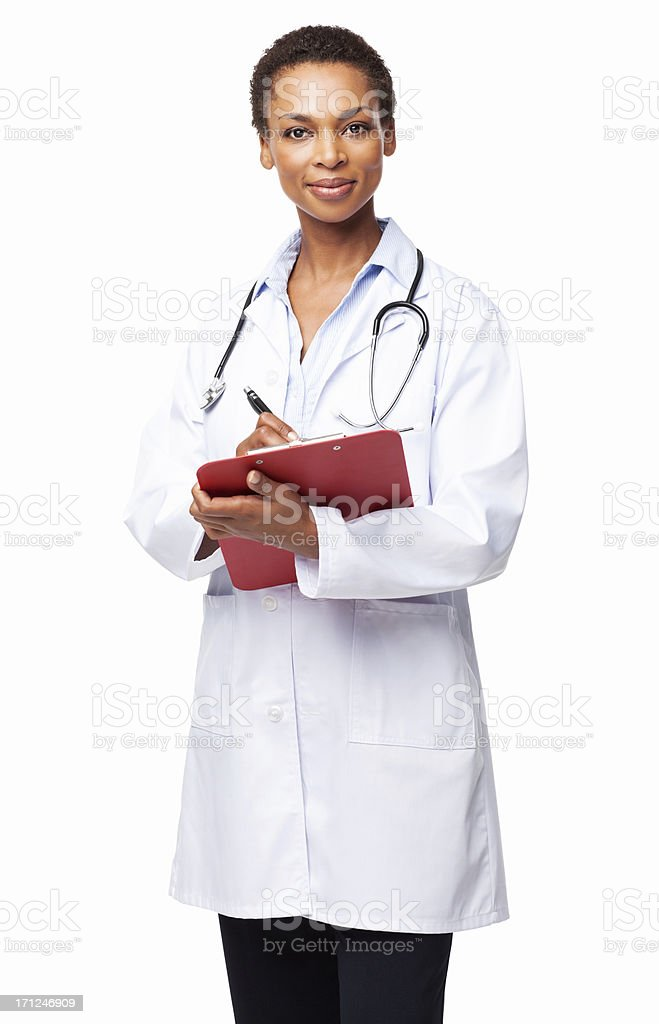 African American Female Doctor Holding Clipboard - Isolated stock photo